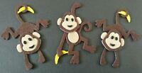 3 handmade monkey's with bananas, Embellishments. Felt Die cuts. Card topper.