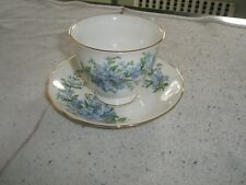 QUEEN ANNE Cup & Saucer bone china  w/ forget-me-nots flower pattern   Ridgeway