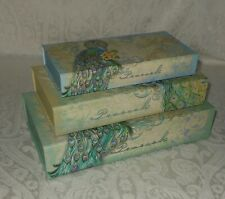 3 Punch Studio Vintage Teal Peacock Gift Memory Nesting Boxes NEW FREE SHIPPING