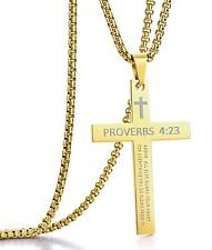 for Men or Women Bible Verse Gold-Tone Stainless Steel Cross Pendant Necklaces