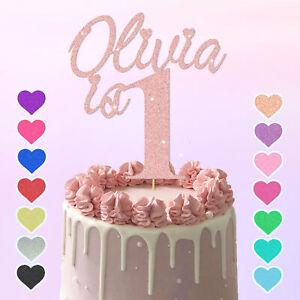 1st Name Cake Topper 1 glitter Custom Personalised Cake Topper 1 2 3 any age