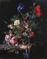 Art Oil painting Willem van Aelst - Flowers in a Silver Vase on canvas