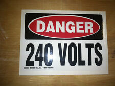 Saftey Decal Sticker 240 Volt (Small), Glossy Laminate, Free Shipping! Lot of 5