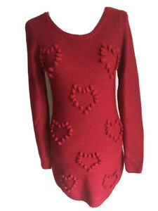 George Womens Tunic Jumper Size 8 Red Long Sleeved Heart Pom Poms Acrylic
