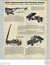1928 PAPER AD Keystone Toy Packard Dump Truck Steam Shovel Water Pump Fire Truck