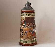 Antique German Etched/Relief Beer Stein by J.W.Remy #912 Card Play c.1900