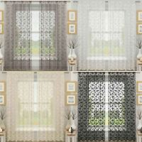 Evie Leaf Sparkle Slot Top Voile Panels Ready Made Sheer Net Curtain Pairs