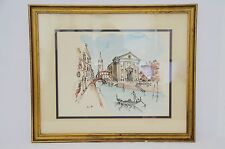 HAND PAINTED ART OF GRAND CANAL IN VENICE ITALY ON 16 X 19 WOOD GOLD COLOR FRAME
