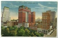 Postcard Heart Of Memphis TN Skyline Street View Buildings Tennessee Linen 1930s