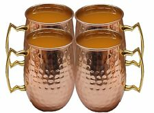 Hammered Pure Copper Brass Handle Moscow Mule Mug Handmade pack of 4 Mugs 16 Oz