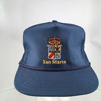 Vintage San Marco Coat of Arms Embroidered Rope Front Strapback Hat Made In USA