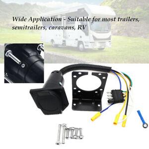 Trailer Plug 4-Way 7 Way RV Blade Adapter Hitch W/ Bracket Electrical Connector
