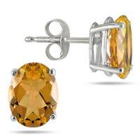 1.00 Ct Oval Shape Citrine 14k White Gold Finish Stud Earrings For Women's