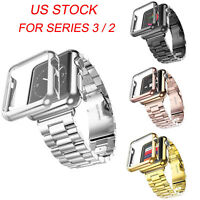 Metal Bands w Cover for Apple Watch iWatch 3 2 Stainless Steel Bracelet Strap US