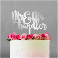 PERSONALISED Wedding Cake Topper ANY SURNAME Mr and Mrs Cake Decoration Keepsake