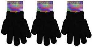 2 Pairs Unisex Children Kids Boys Girls Winter Warm Magic Stretch Gloves Black