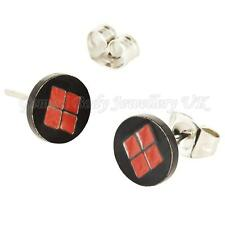 1 Pair Batman Harley Quinn Stud Earrings surgical steel with butterfly backs