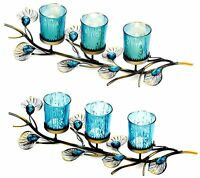 PEACOCK INSPIRED TRIO CANDLEHOLDER CENTERPIECE *Turquoise-Blue Cups, Plumes* NIB