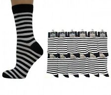 MENS BLACK & WHITE STRIPED ANKLE SOCKS - SIZE: UK 6-11 CLASH PUNK SEX PISTOL