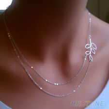 Women's Double Chain Leaves Pendant Charm Silver Plated Necklace Sa1