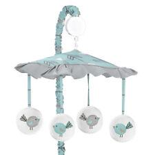 Sweet Jojo Musical Mobile For Turquoise And Gray Earth Sky Baby Crib Bedding Set