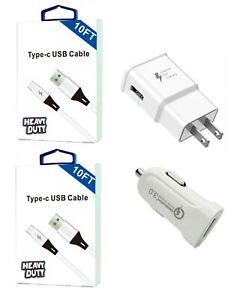 Google Pixel 5/5 XL/4/4 XL/3/3 XL/2/2 XL/XL Fast Wall Car Adapter USB-C 10 Feet