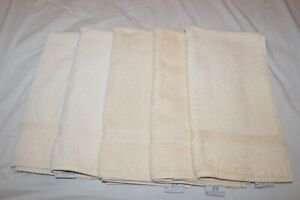 Lot of 5 JCPenney Dynasty 100% Pima Cotton Hand/Face Towels Creme Made in USA