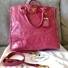 PRADA Authentic Pink Calfskin Leather Vitello Daino Shopper TOTE Bag