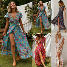 BOHO  Women V-Neck Wrap Floral Maxi Dress Ladies Summer Holiday Beach Sundress