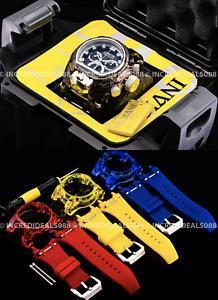 Invicta Mens Bolt Zeus Magnum Anatomic Chronograph Black Silver Watch w/4 Strap