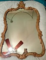 "Antique French Contoured Mirror w/Ornate hand carved wood frame 34"" X 22"""