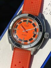 Vintage Avia Orange Pillow Case Mens Diver Watch Swiss, Automatic, In Box 39mm