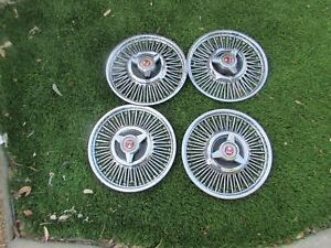 "1963 1964 Ford Fairlane Ranchero Falcon Spinner Wire Hubcaps 13"" Set 4 Used Oem"