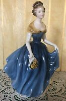ROYAL DOULTON LADY MELANIE MODEL No. HN 2271 PERFECT BLUE DRESS YELLOW ROSES
