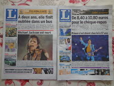 SOUVENIR DE 4 LEGENDES : BOWIE, M. JACKSON, GEORGE MICHAEL ET PRINCE- 4 journaux