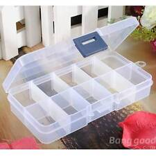 10 Slots Adjustable Jewelry Empty Storage Box Case Nail Tip Gems Organizer Beads