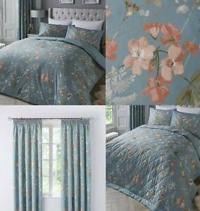Farah Duck Egg Floral Duvet Cover Sets-Bedding Sets,Matching Curtains Available