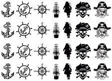 "Pirates Ahoy 5""X7"" Card Black Fused Glass Decals 17CC814"