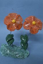 Fleurs en Calcite et serpentine sculpture en pierre fleur 308g
