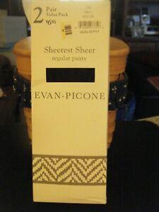 2 Pair Evan-Piccone Sheerest Sheer Navy Regular Panty Pantyhose - Size M