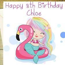Personalised mermaid flamingo pink glitter birthday age card greetings blank 1