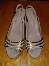 Sergio Rossi Sandals Slingback Skin/Bronze Size 40.5/US 9.5-10 used EUC