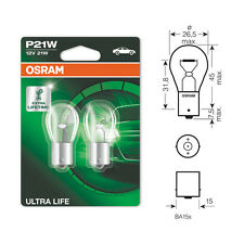 2 x Osram Ultra Life 382 P21W Brake Stop Car Light Bulb 12v 21w BA15S 7506ULT
