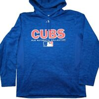 Majestic Chicago Cubs Men's Medium Heather Blue Hoodie Sweatshirt MLB Baez Rizzo