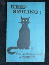 "OLD POSTCARD ""KEEP SMILING WERE ALL MERRY AND BRIGHT AT YARMOUTH- USED 1919"