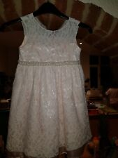 Girls White Lace and Pink Satin Party Dress Size 4 Years