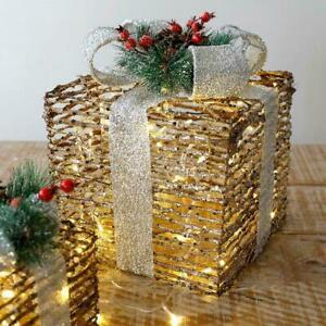 3pcs Christmas Iron Art Gift Box LED Light Up Parcel Gift Box C5L6
