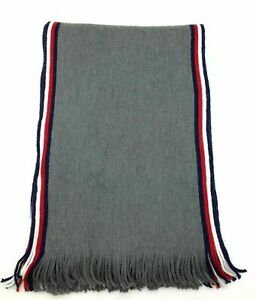 Tommy Hilfiger Mens Accessories Gray One Size Striped-Trim Knit Scarf $60 200