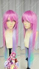 Kein Spiel Kein Leben Mode Regenbogen-Gradienten Lange Cosplay Perücke Wig Haar