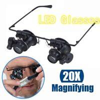 20X Fach Brille Lupenbrille LED Lampe Vergrößerungsglas Lupe Uhrmacher Juwelier